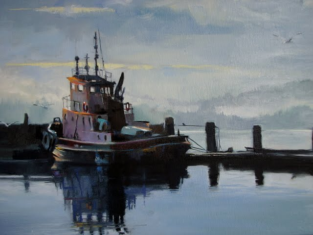 """""""New Day on Liberty Bay Poulsbo fishing boat, oil marinescape"""" original fine art by Robin Weiss"""