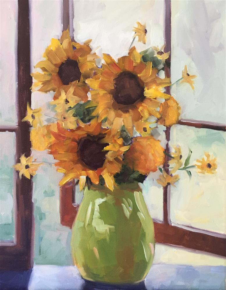 """Luella's Sunflowers"" original fine art by Lisa Sotero"