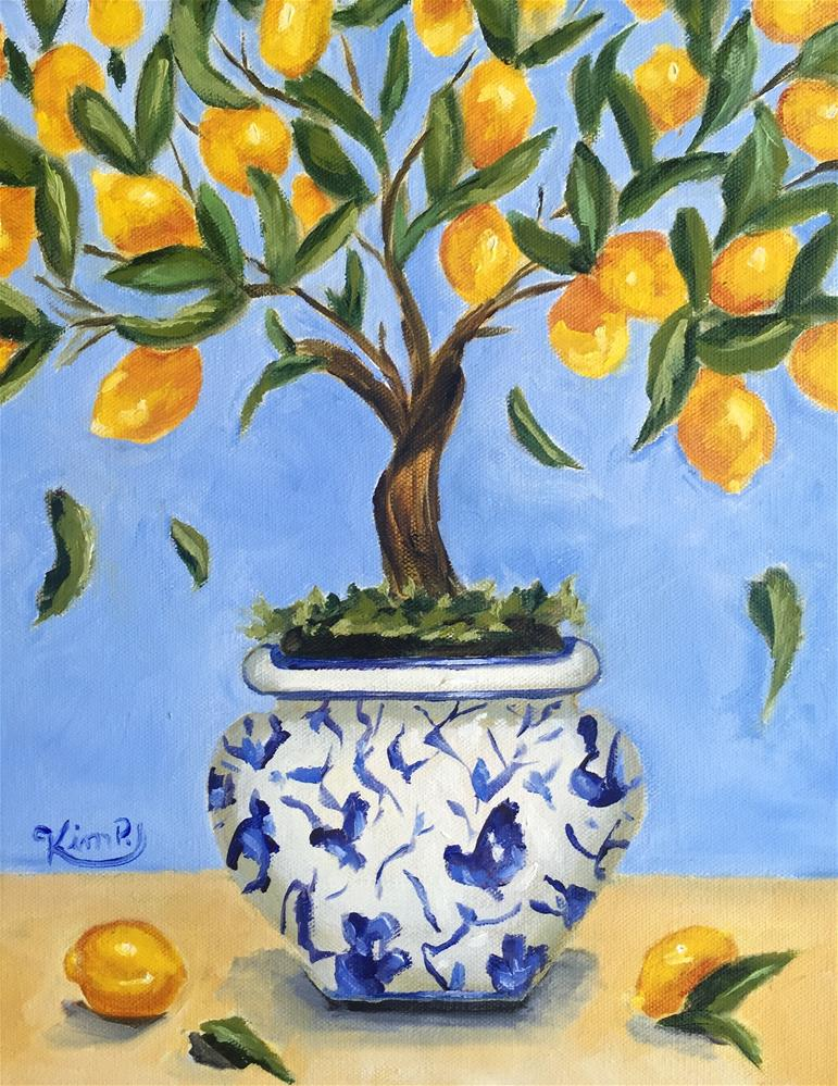 """Lemon tree in blue and white pot"" original fine art by Kim Peterson"