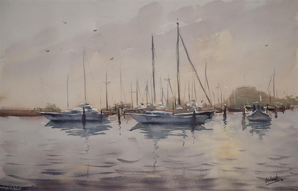 """Southport evening"" original fine art by Tesh Parekh"