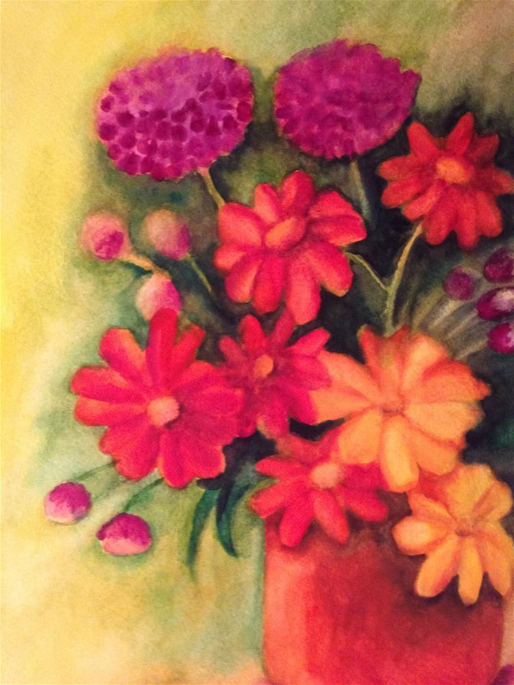 """""""Daisies, Tulips and Geraniums"""" original fine art by Giovanni Antunez"""
