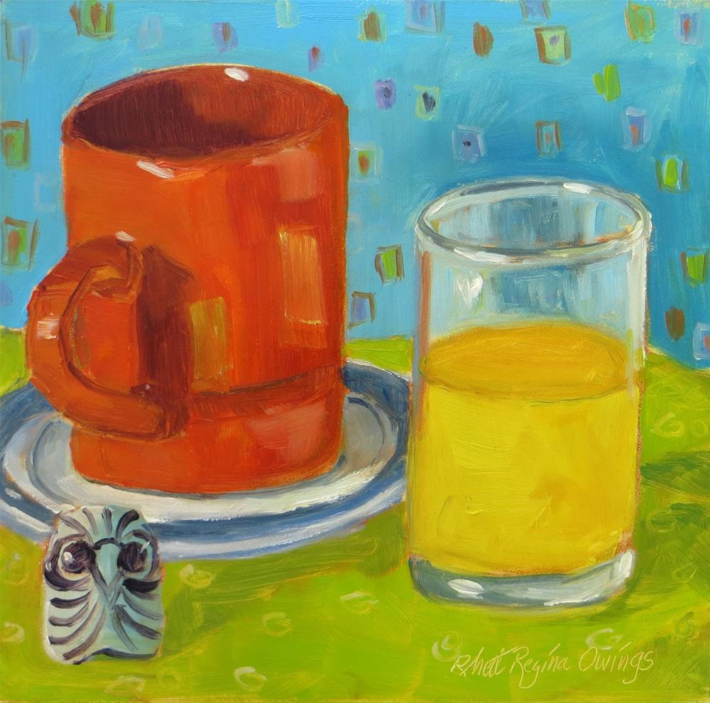 """Orange Mug and Orange Juice"" original fine art by Rhett Regina Owings"