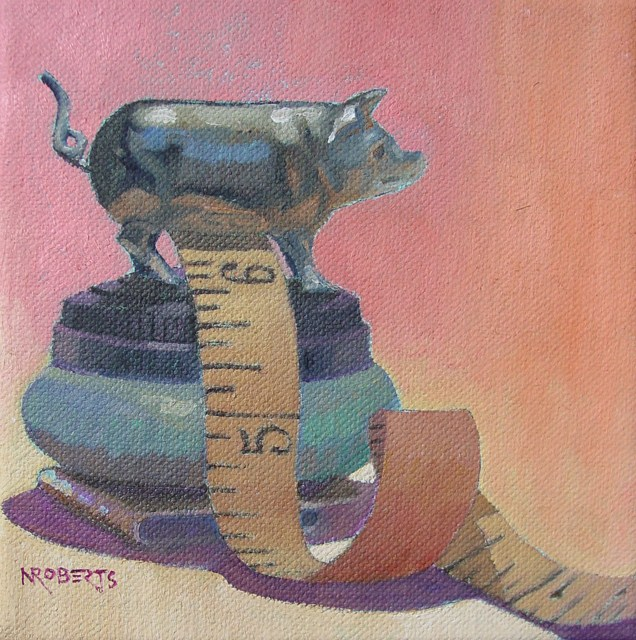 """My Little Piggy"" original fine art by Nancy Roberts"