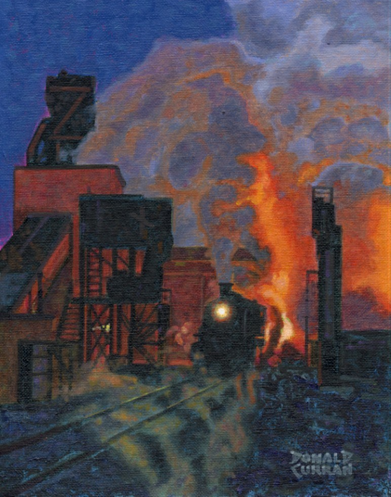 """Night Time Train Yard"" original fine art by Donald Curran"