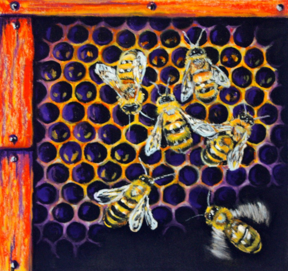 """Bees in the Barn"" original fine art by Jill Bates"