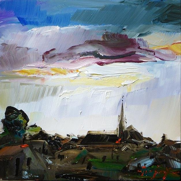 """""""Unwetter im Dorf"""" original fine art by Jurij Frey"""