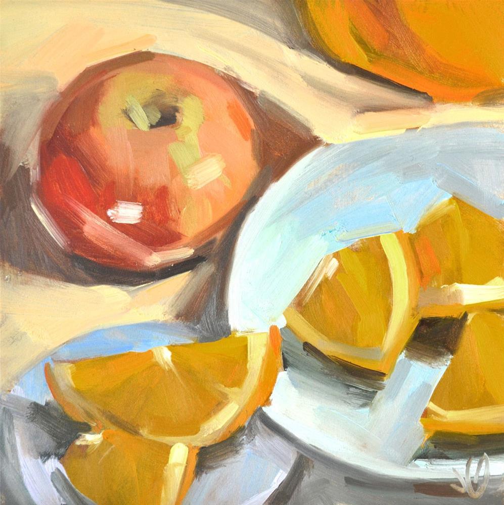 """Apple and Orange Study"" original fine art by Jessica Green"