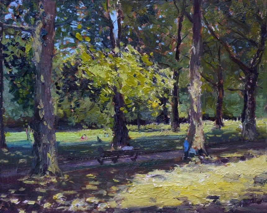 """Summer Shadows Green Park"" original fine art by Adebanji Alade"