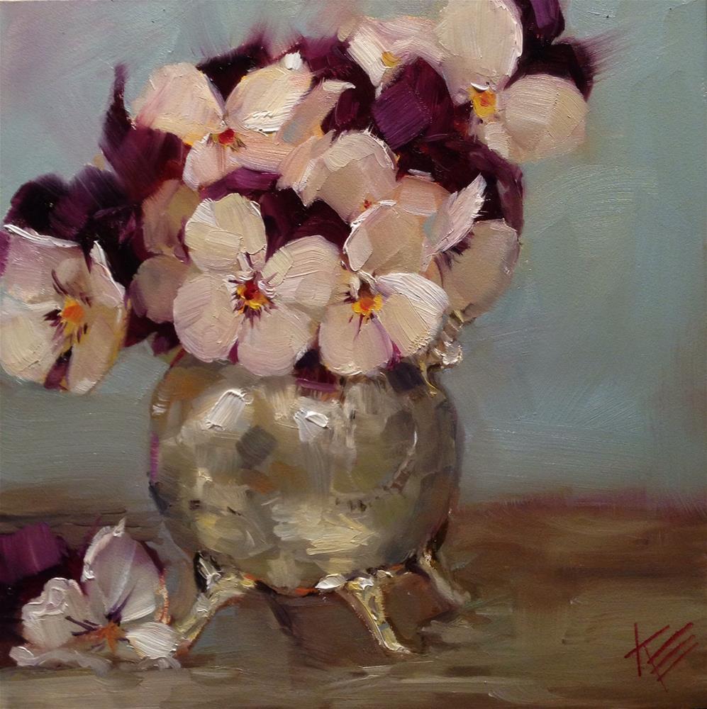 """Pansies in Silver"" original fine art by Krista Eaton"