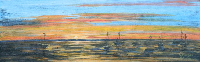 """Sunset Anchorage #1"" original fine art by Gloria Urban"