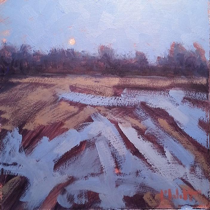 """""""Cold Moon Contemporary Impressionism Winter Landscape Original Oil"""" original fine art by Heidi Malott"""