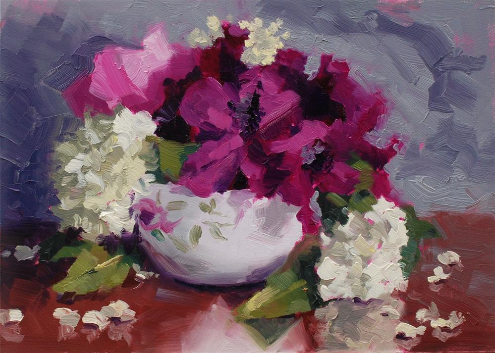 """""""Teacup Bouquet 3"""" original fine art by Susan McManamen"""