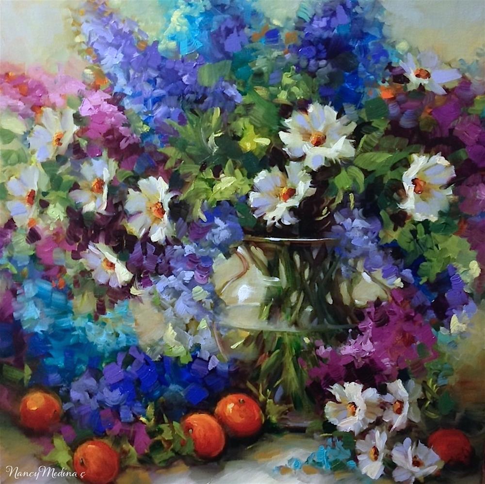 """A New Milestone in the Journey - Abundance Delphiniums"" original fine art by Nancy Medina"
