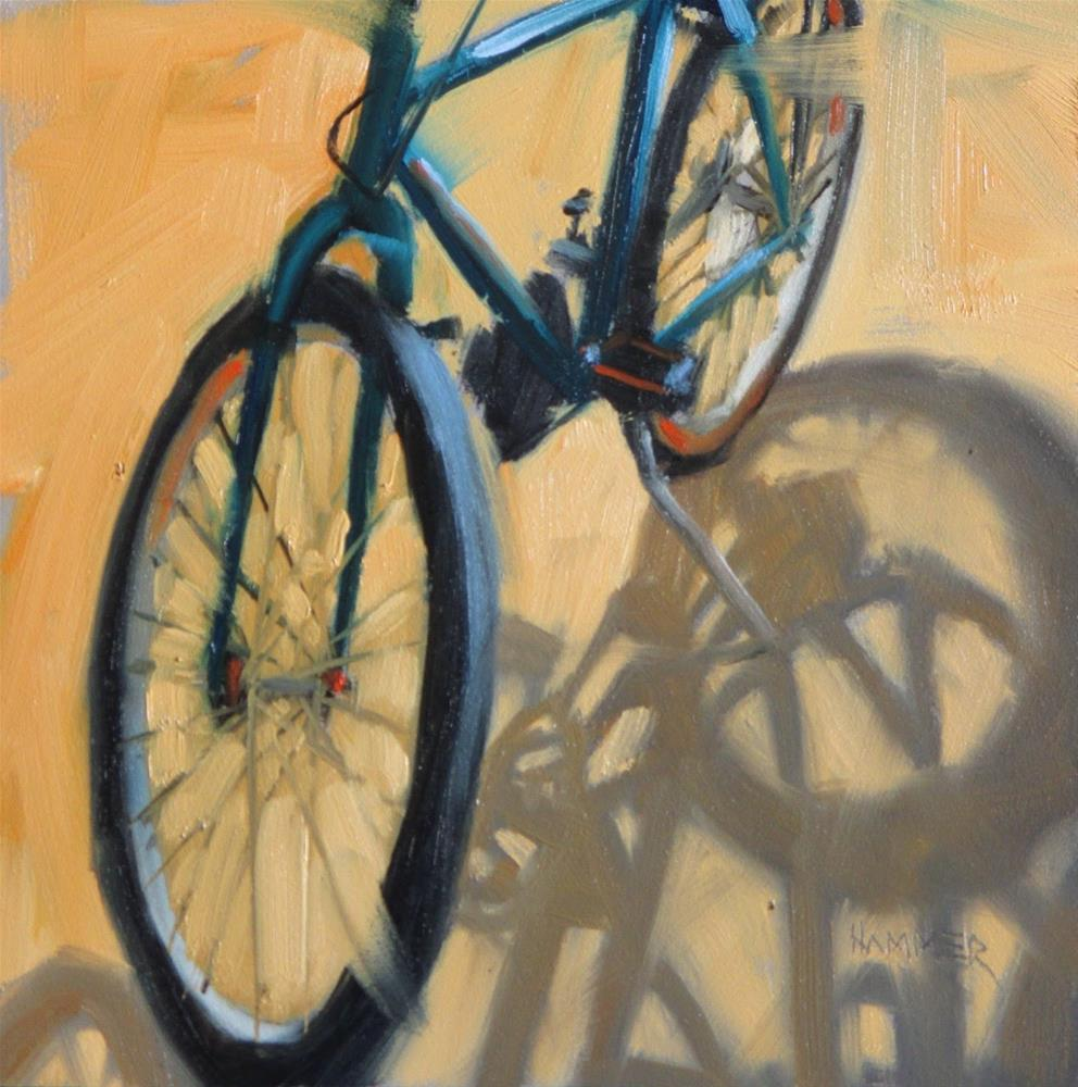 """""""My Bicycle  6x6 in  oil"""" original fine art by Claudia Hammer"""