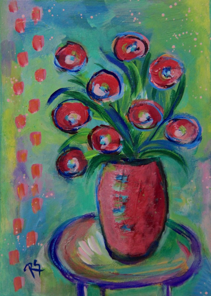 """Still Life with Flowers"" original fine art by Roberta Schmidt ArtcyLucy"