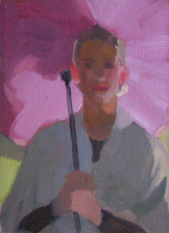 """Peggi Kroll Roberts, The Pink Umbrella"" original fine art by Kaethe Bealer"