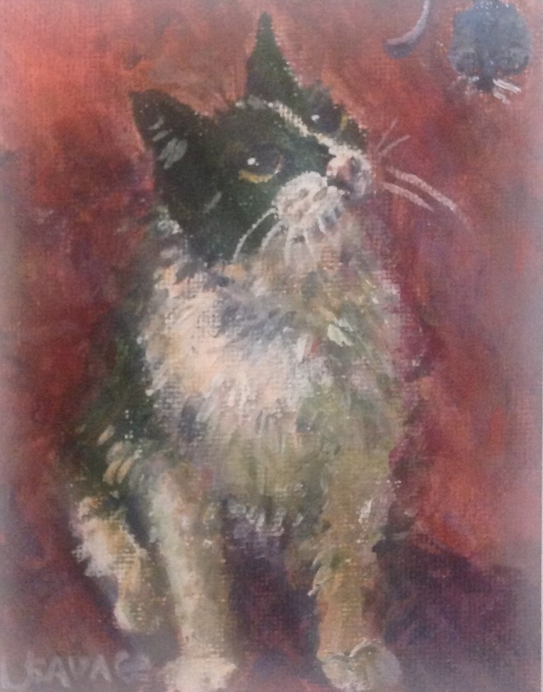 """""""To Catch A Mouse"""" original fine art by Judy Usavage"""