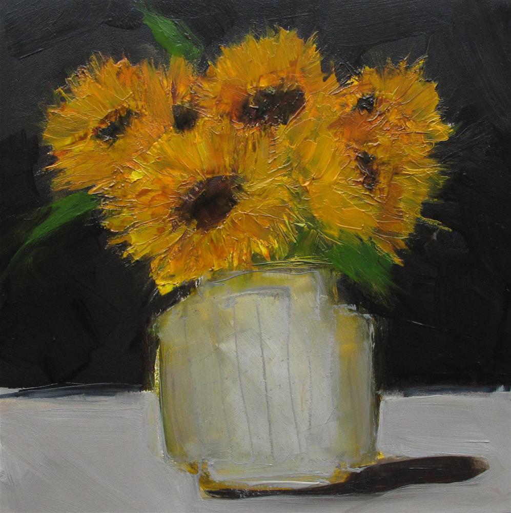 """STILL LIFE Sunflowers Sun Floral Original Art Colette Davis 6x6 Painting OIL"" original fine art by Colette Davis"