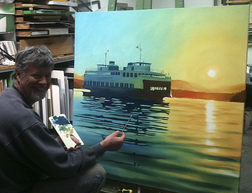 """""""Ferry in the Sunset"""" original fine art by Andy Sewell"""