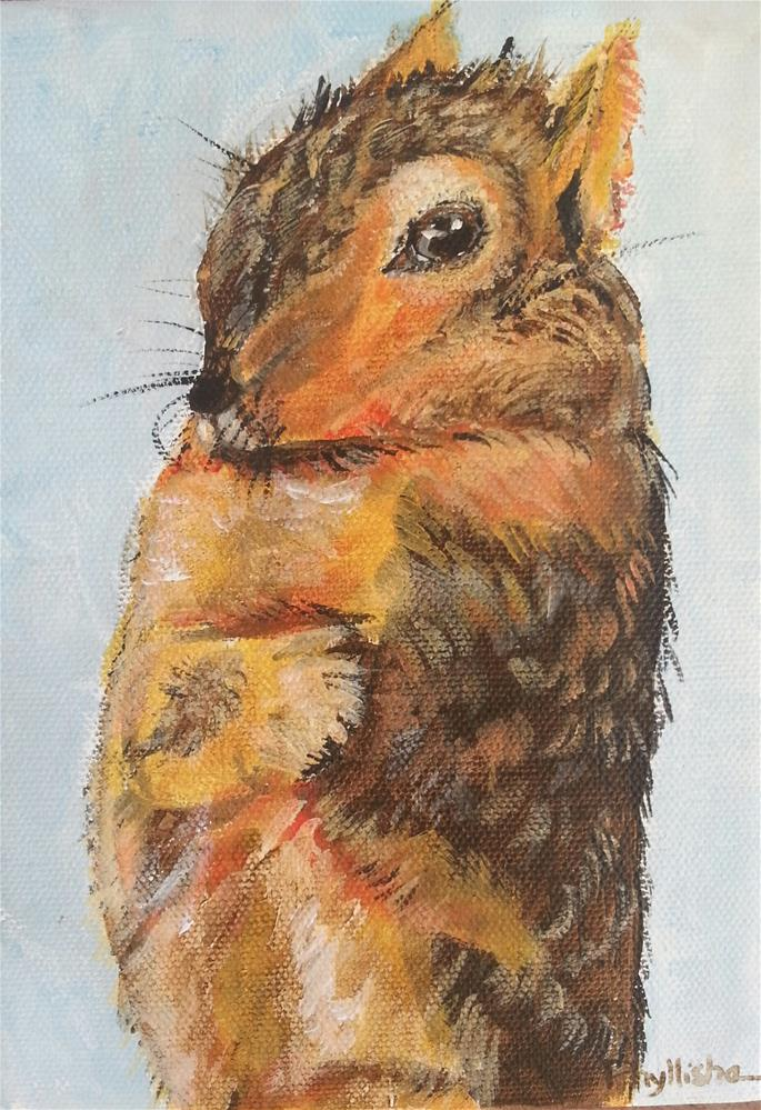 """Cold Squirrel"" original fine art by Phyllisha Hamrick"
