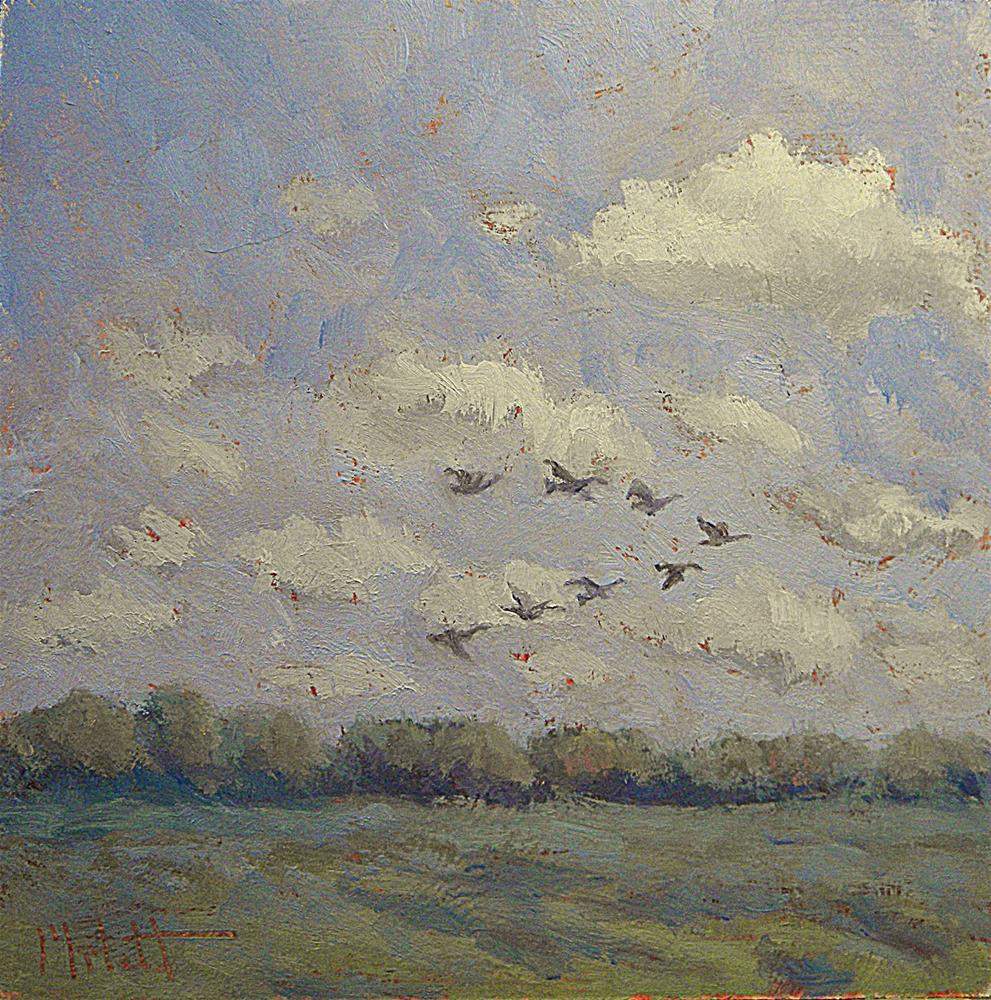 """Canadian Geese Fly South Landscape"" original fine art by Heidi Malott"