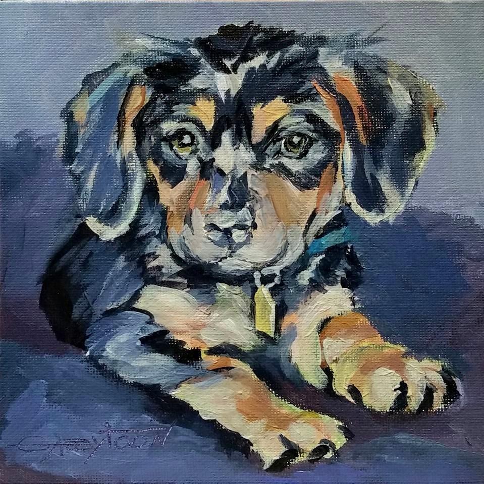 """Puppy"" original fine art by Gabriella DeLamater"