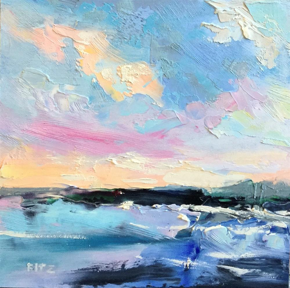 """""""Abstract Seascape 10"""" original fine art by Charlotte Fitzgerald"""