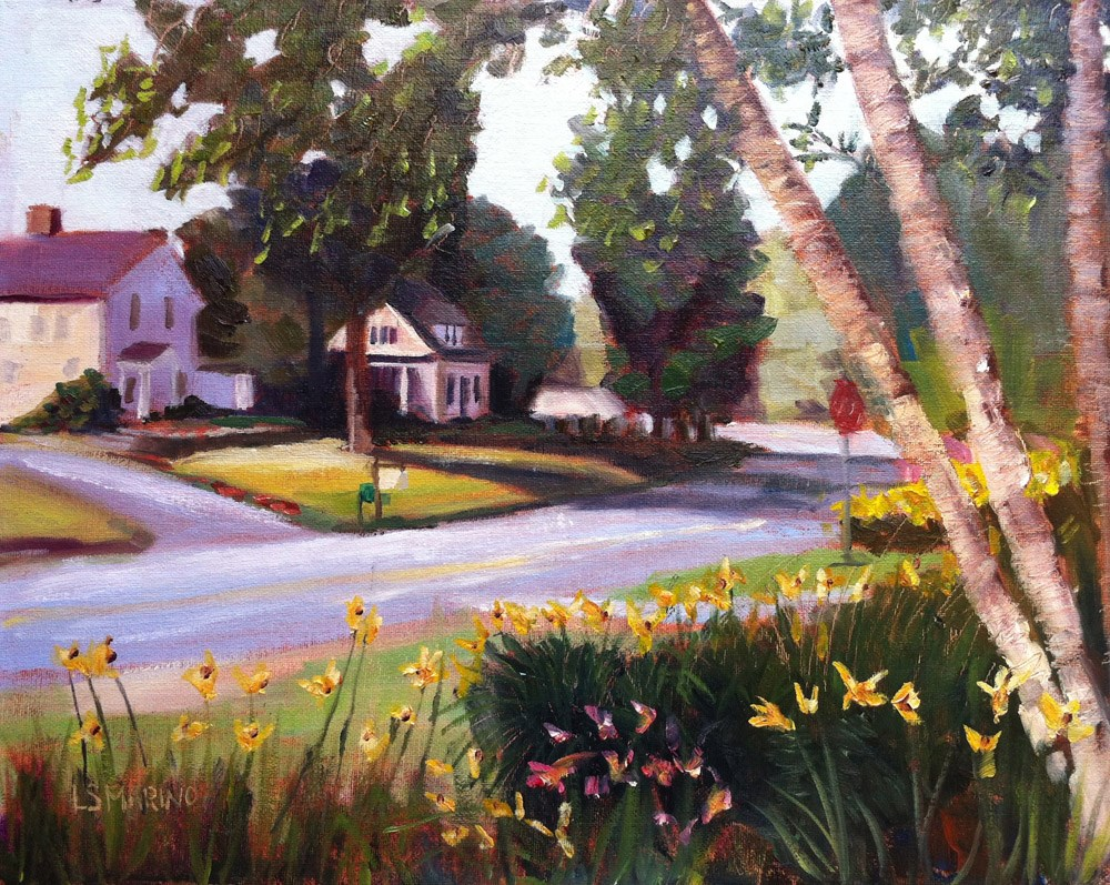 """Country Road, Simsbury, CT"" original fine art by Linda Marino"