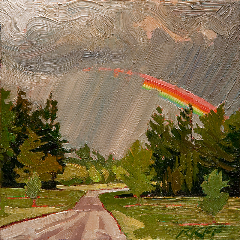 """The Road To Gold: 6x6 oil on panel"" original fine art by Ken Faulks"