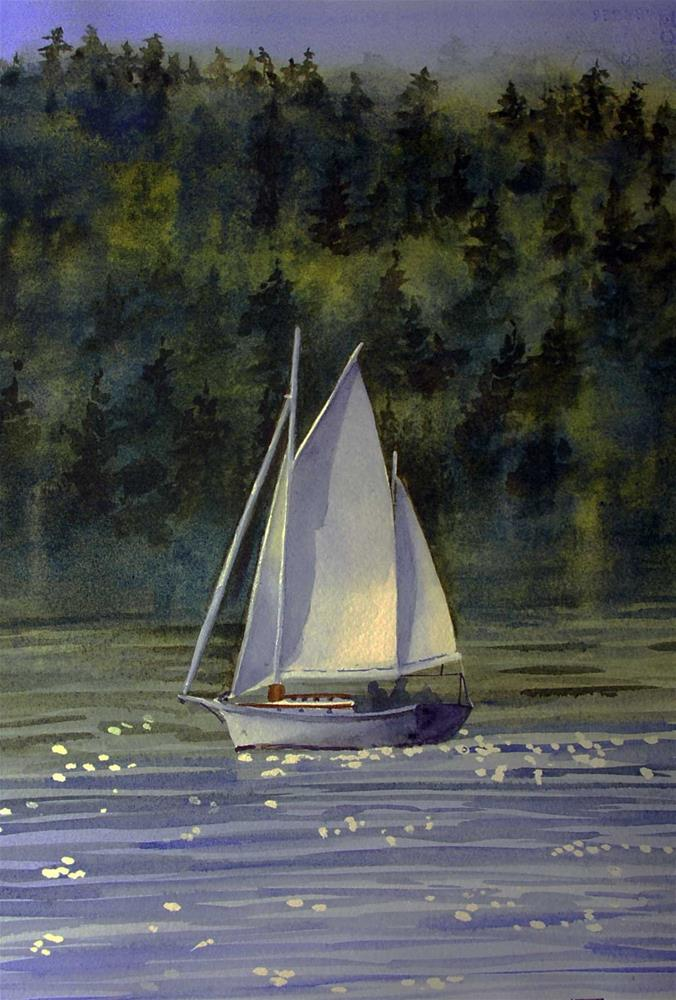 """""""Sailing on Port Townsend Bay"""" original fine art by Mary Anderson"""