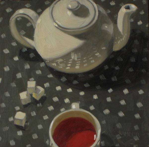 """Red tea 6x6 oil on hardboard"" original fine art by Claudia Hammer"