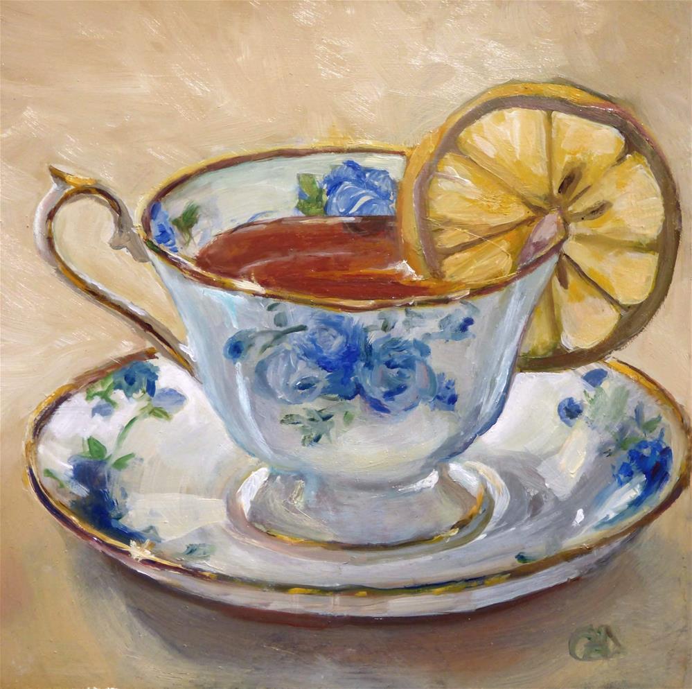 """Lemon Tea"" original fine art by Christine Angelotta Dixon"
