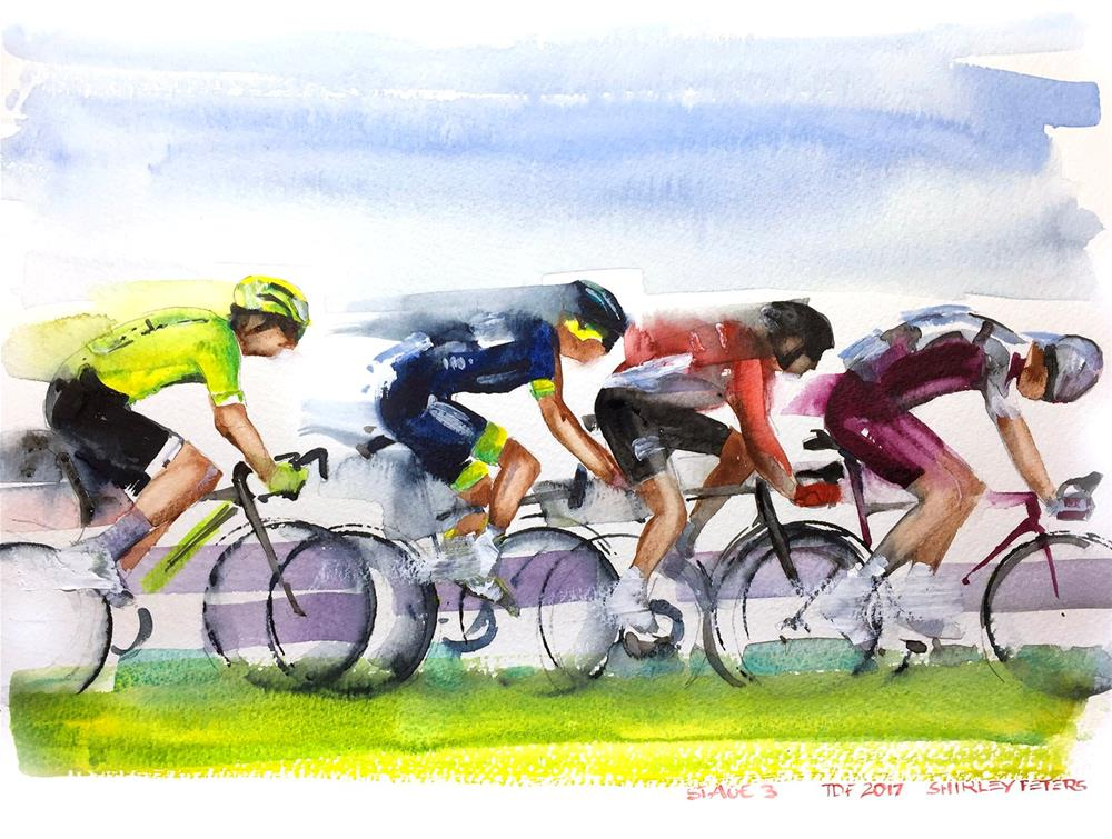 """""""Le Tour de France Stage 3 Early Breakaway"""" original fine art by Shirley Peters"""