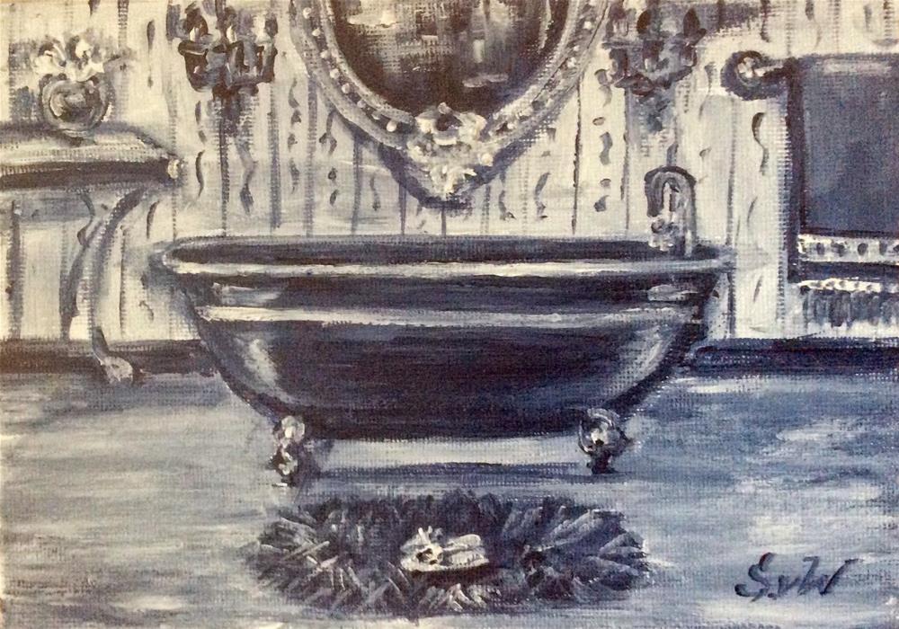 """Blue  and white bathroom painting"" original fine art by Sonia von Walter"