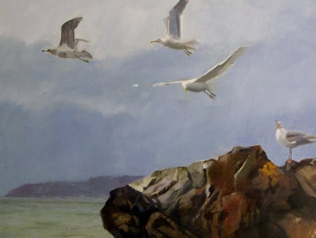 """""""Detail views of Deception Pass  oil marine landscape"""" original fine art by Robin Weiss"""