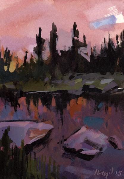 """Still Water at Dusk - Quick Study"" original fine art by David Lloyd"