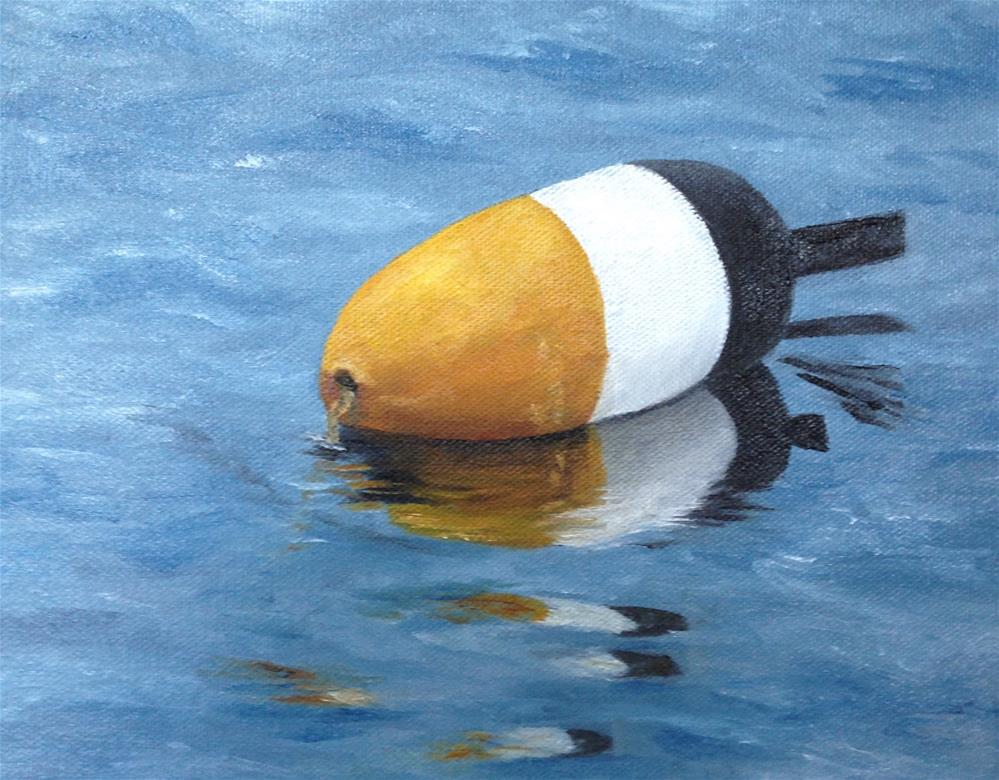 """""""Lobster Buoy; yellow, white and black"""" original fine art by Karen Collins"""