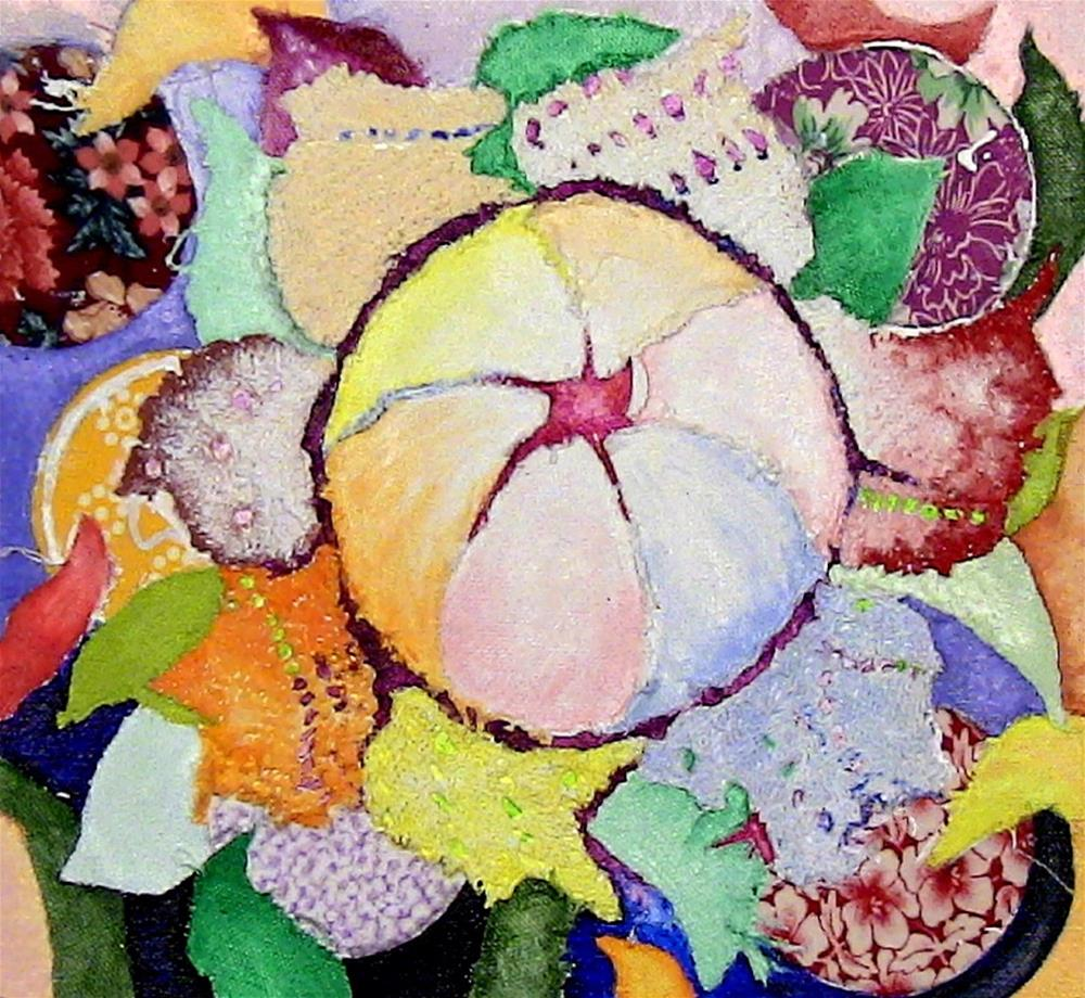"""Flower with Crocheted Petals"" original fine art by Lisa Fulton"