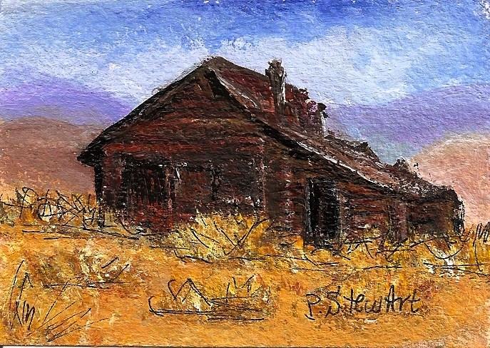"""ACEO Desert Hideaway Cabin Deserted Sagebrush sand sky mountains Penny StewArt"" original fine art by Penny Lee StewArt"