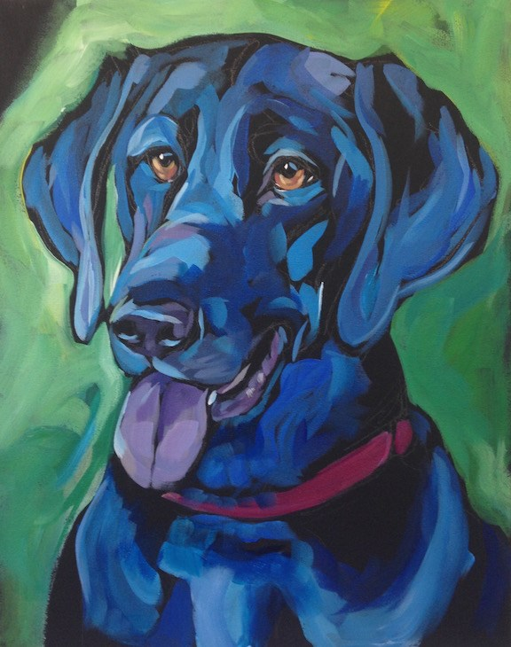 """Otto In Green"" original fine art by Kat Corrigan"