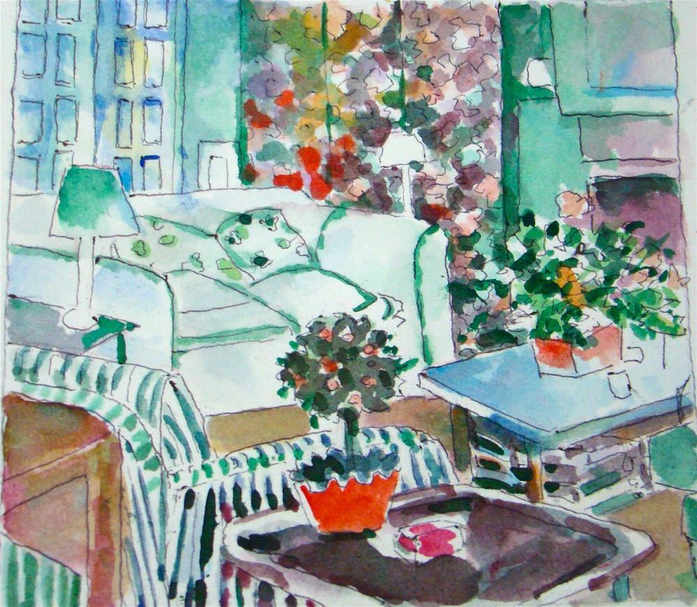 """""""Nancy's living room"""" original fine art by meribeth coyne"""