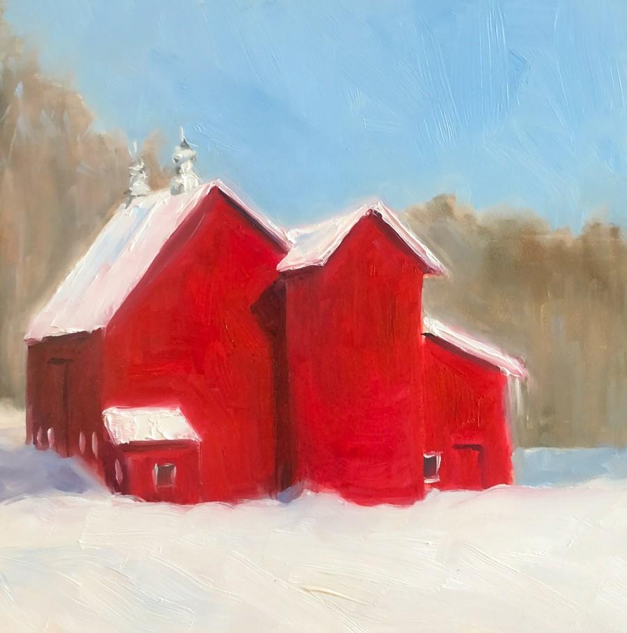 """#257 - Red Barn - Stowe, VT"" original fine art by Sara Gray"