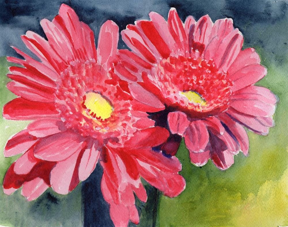 """""""Pink Daisies"""" original fine art by Bunny Griffeth"""