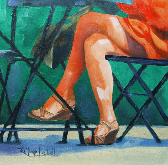 """No 584 Sitting in the Cafe"" original fine art by Robin J Mitchell"
