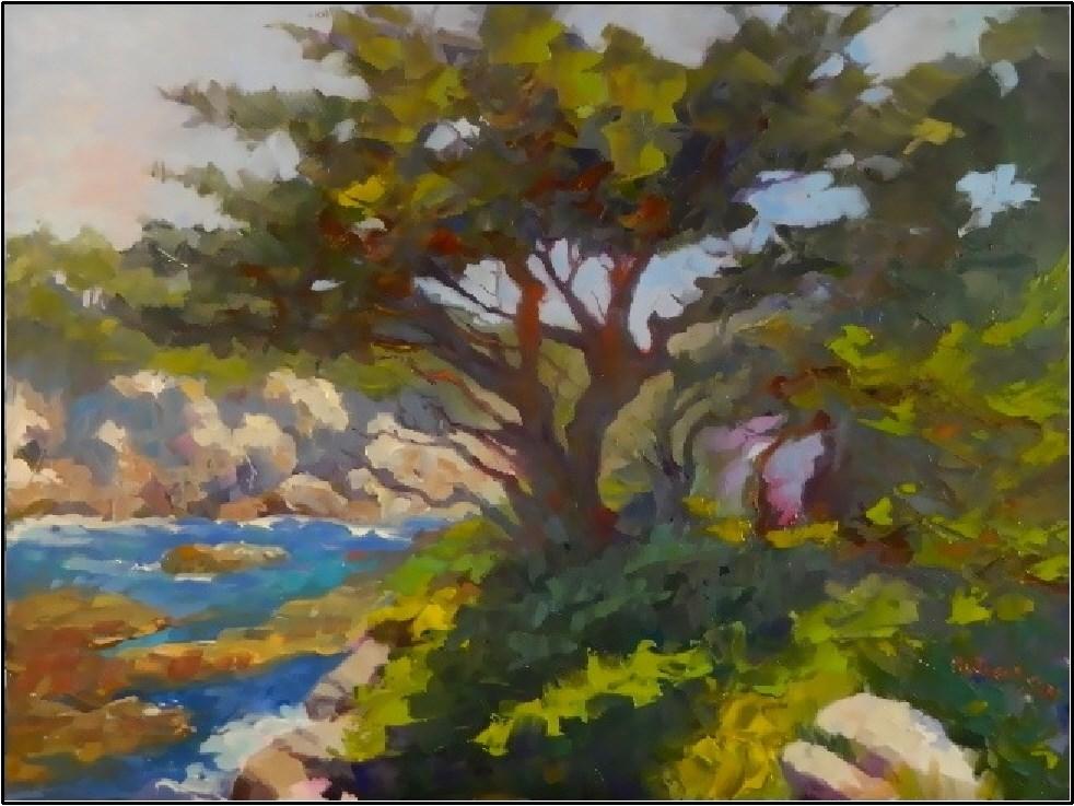 """Cypress Cove, 12x16, oil on board, Point Lobos, Cypress grove, cypress trees, Carmel art, Monterre"" original fine art by Maryanne Jacobsen"