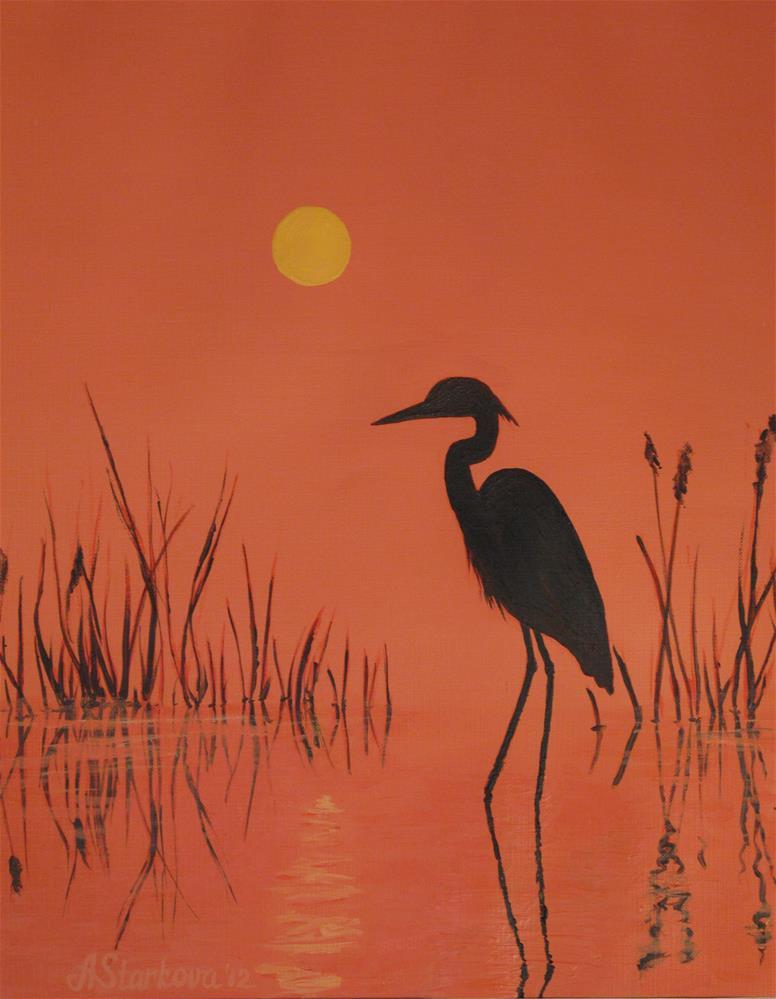 """Bird silhouette"" original fine art by Anna Starkova"