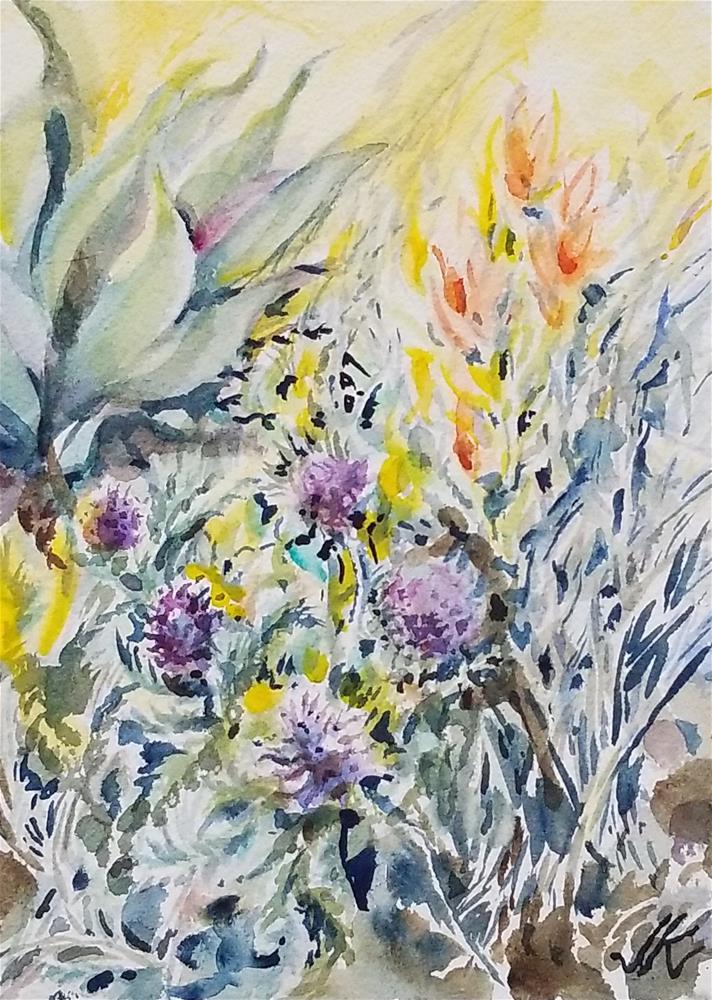 """Paintbrush and Purple Fringe"" original fine art by Jean Krueger"