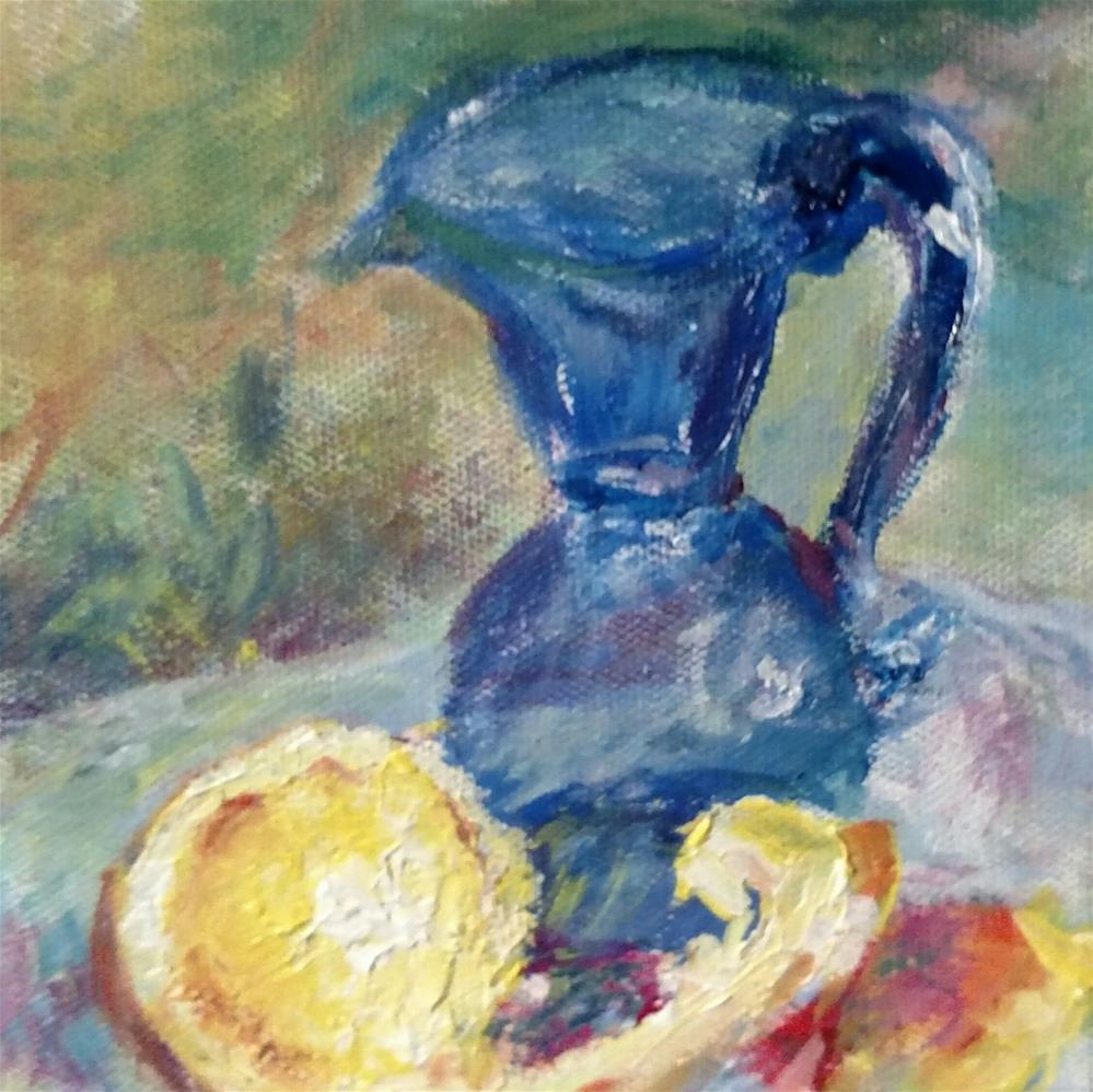 """Jamestown Cobalt and Citrus Study"" original fine art by S. Lynne Price"