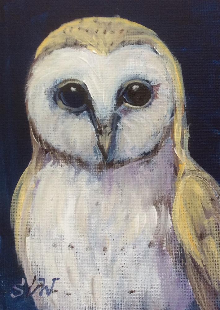 """""""Barn owl painting"""" original fine art by Sonia von Walter"""
