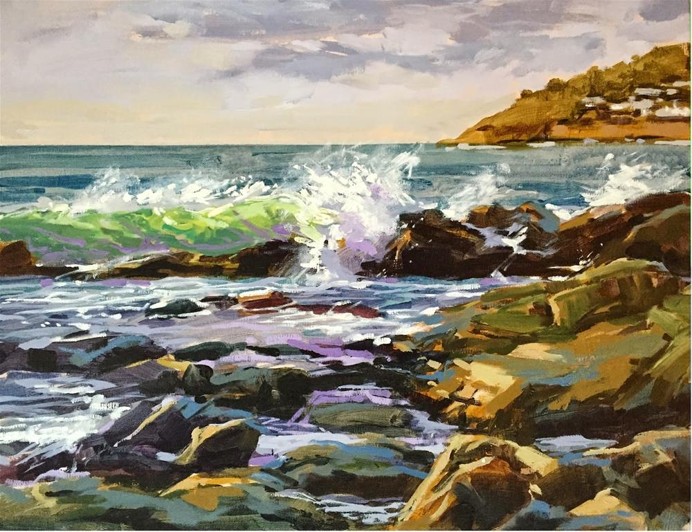 """""""Rocks and waves"""" original fine art by Haidee-Jo Summers ROI"""